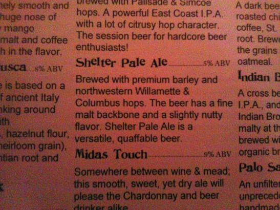 Shelter Pale Ale; Dogfish Head Brewings & Eats; Rehoboth Beach, DE